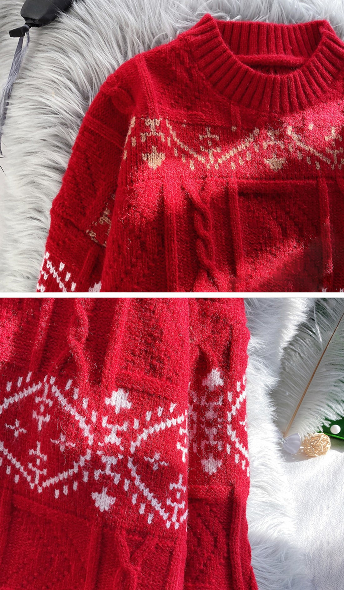Sequin Vacation Trip Christmas Sweater Details 3