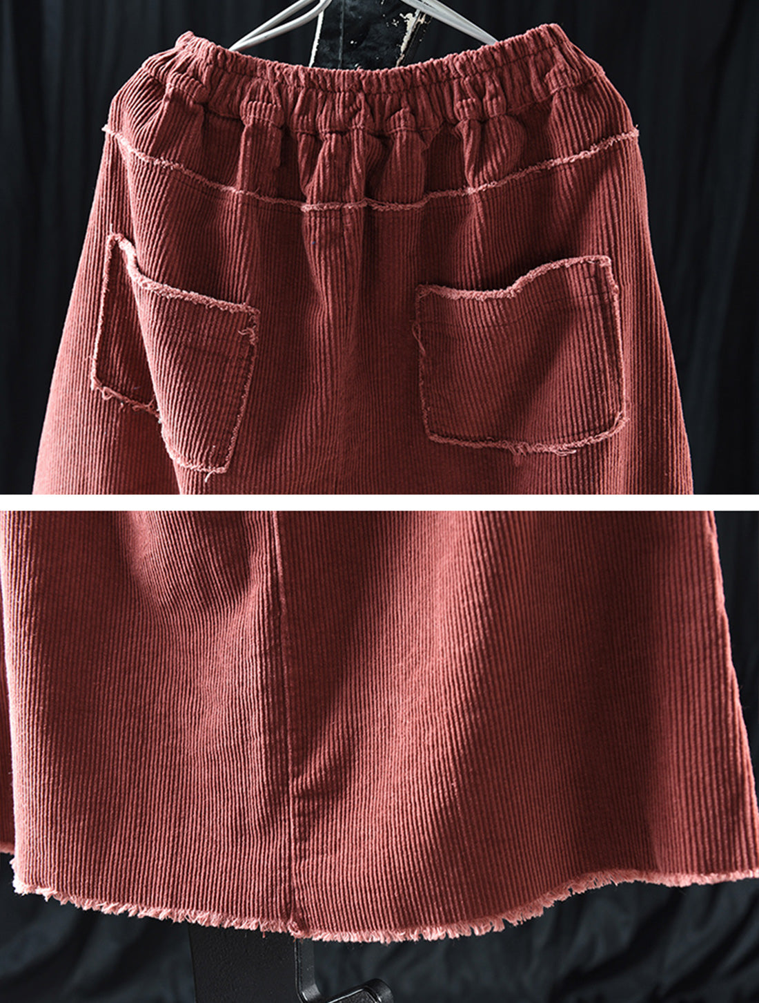 Simple Thickened Corduroy Skirt Details 3