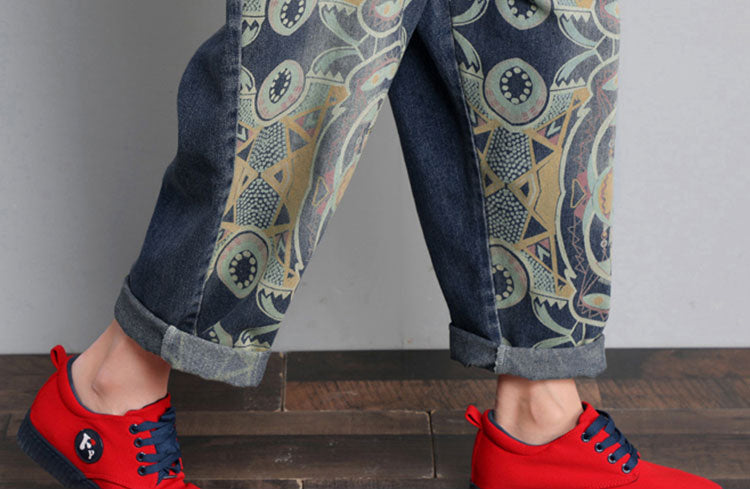 Hippie Denim Overalls Dungarees with Prints Details 3