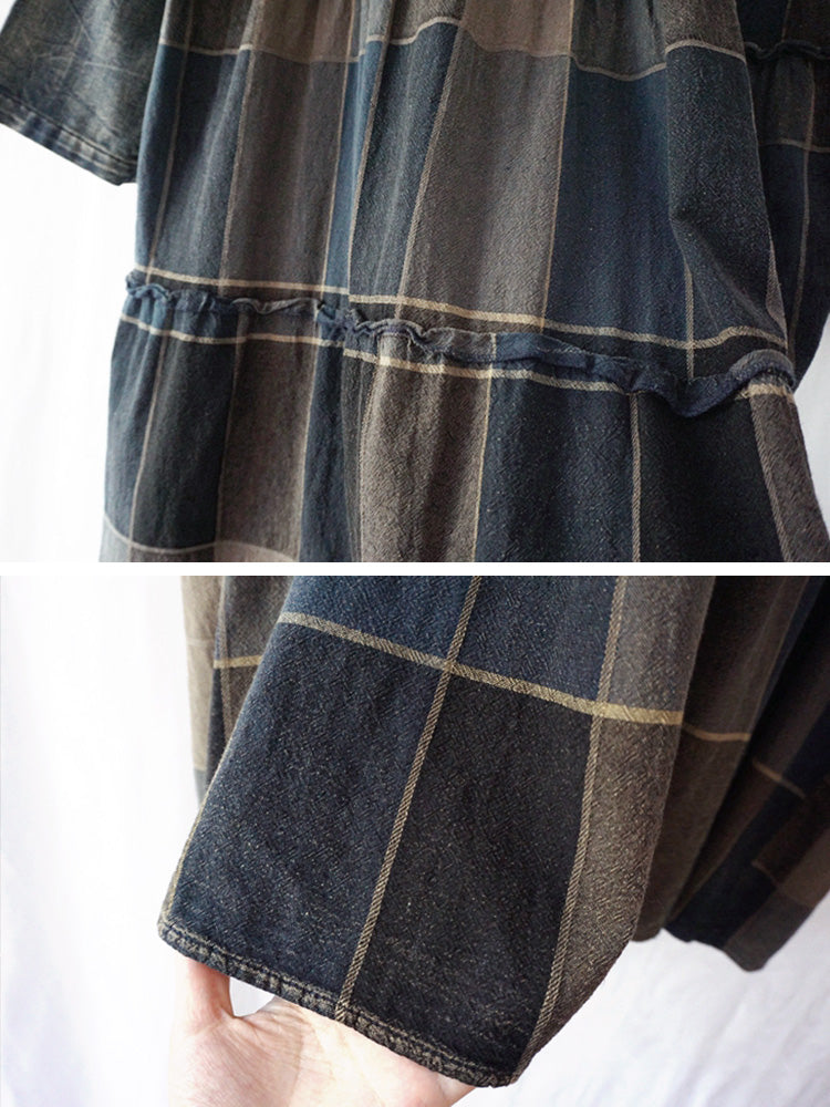 Plaid Print A-line Dress with Hoodie Details 4