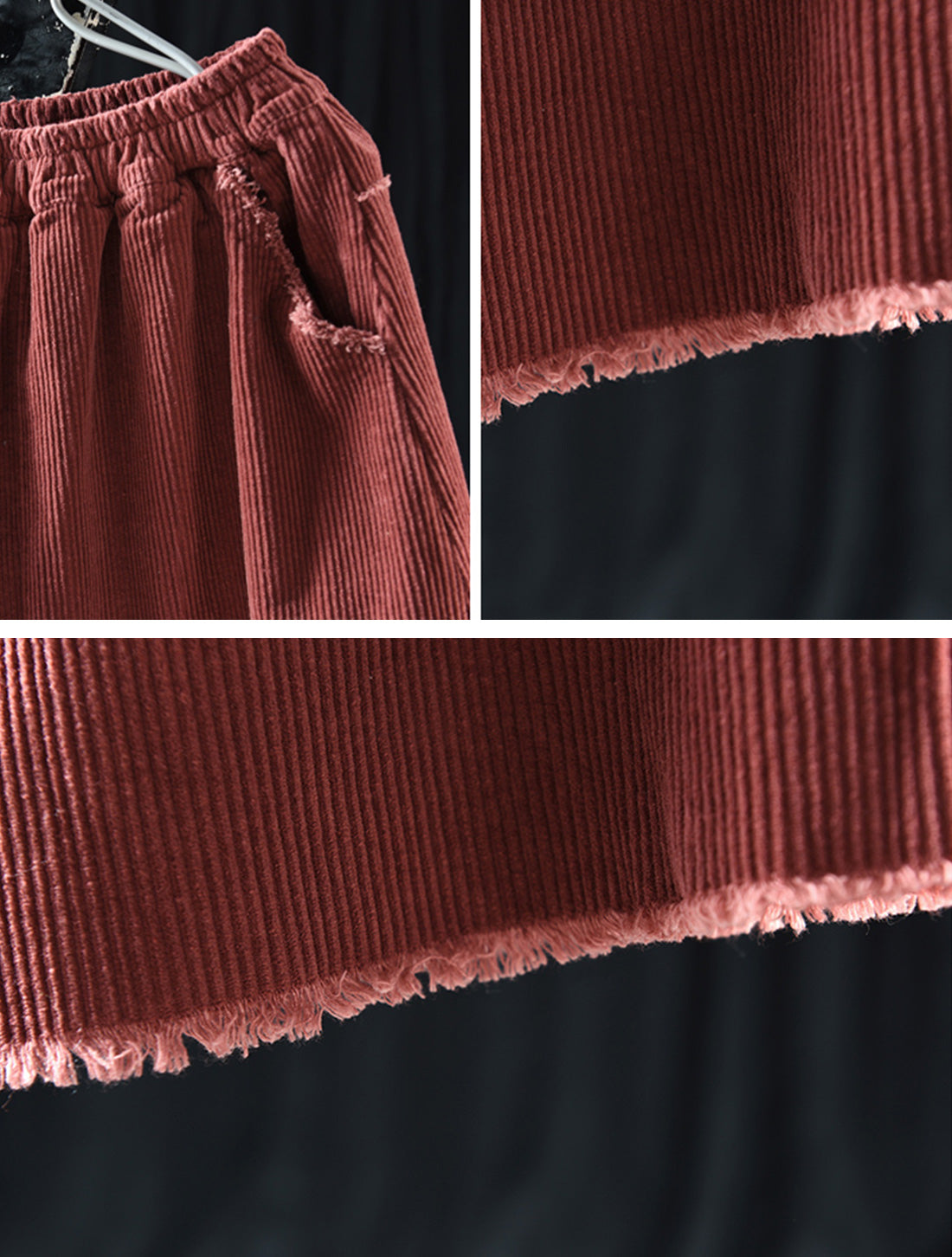 Simple Thickened Corduroy Skirt Details 4