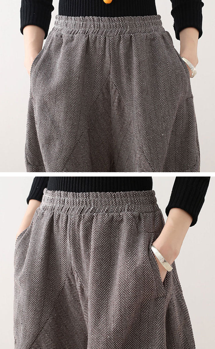 Thickening Striped Lantern Pants Details 4