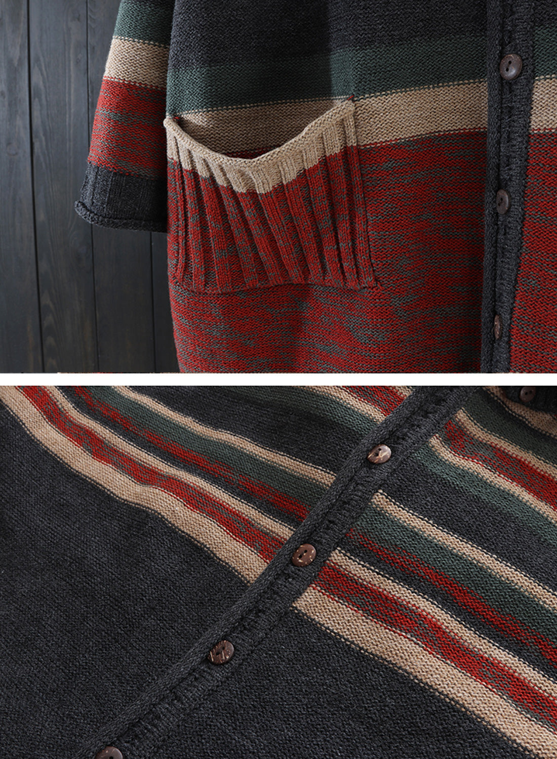 Striped Hooded Cardigan with Pockets Details 4