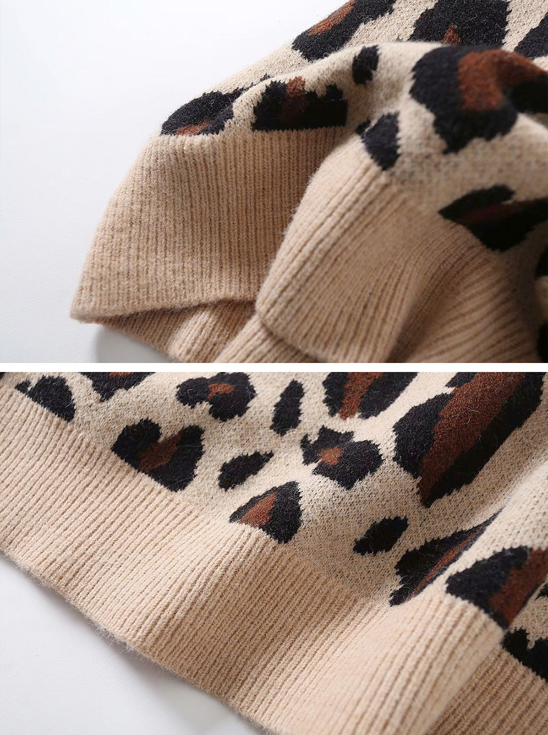 Loose Leopard Print Pullover Sweater Top Details 4