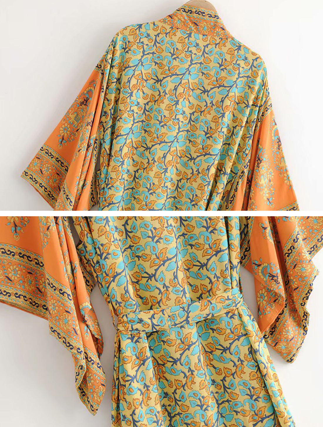 No Rush Orange Kimono Robe Details 4