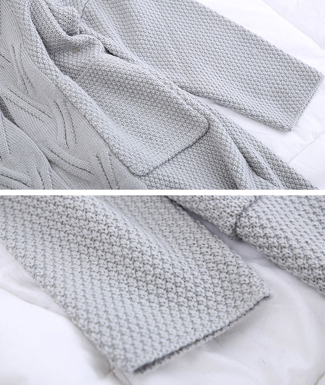 Diamond Long Cardigan Sweater with Pocket Details 5