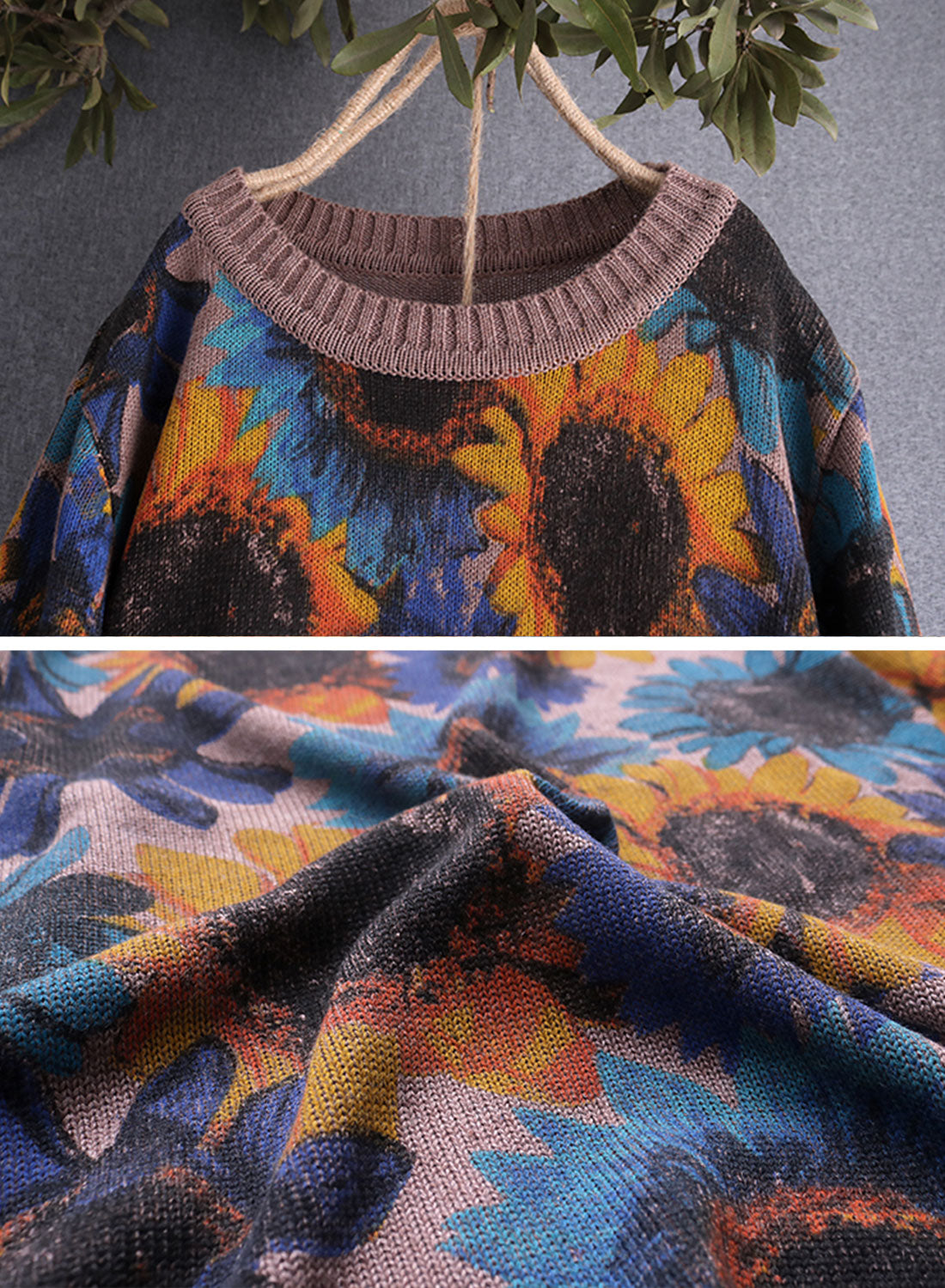 Bloomed Sun Flower Cotton Sweater Details 5