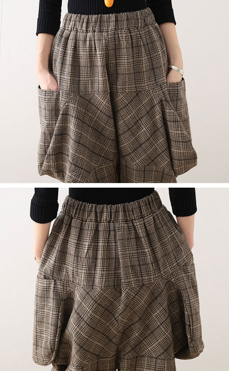 Splicing Plaids Cotton Harem Pants Details 6