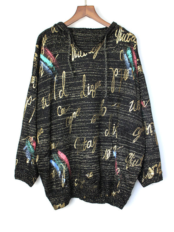 Mildred V-Neck Hooded Sweater Top with Color Sketches