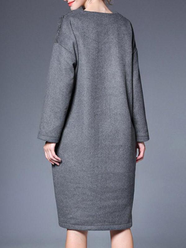 High Quality Knitted Two Pocket Woolen Midi Dress