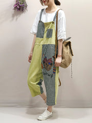 Fluffy Bear Print Color Contrast Cropped Overall Dungarees