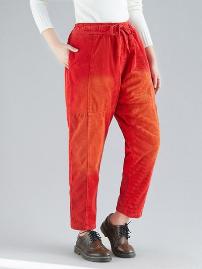 Ronda Casual Ribbed Cotton Trousers with Pockets
