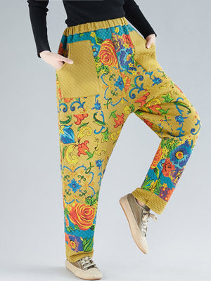 Sherrie Colorful Floral Cotton Trousers with Pockets