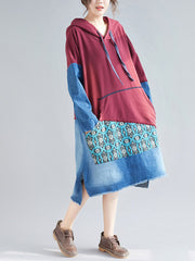 Adriana Vintage Patchwork Hooded Shift Dress