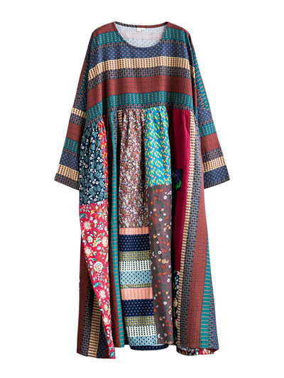 Multi Retro Print Cotton Smock Dress