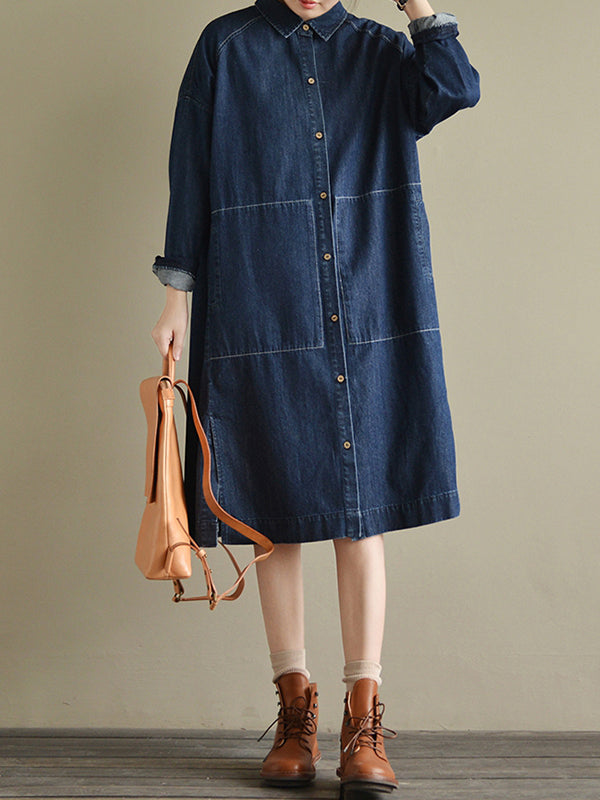 Oversized Chambray Boyfriend Shirt Dress