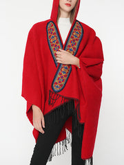 Splicing Red Shawl Cardigan with Hooded