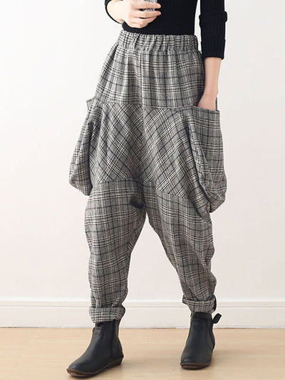Splicing Plaids Cotton Harem Pants