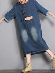 Camryn Hooded Contrast Color Pullover Denim Blue Midi Dress
