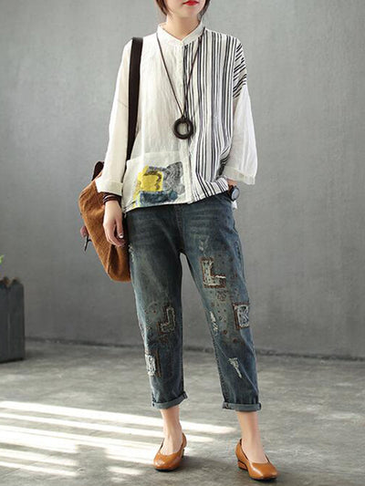 Sallie Stand Neck Linen Cotton Printed Shirt