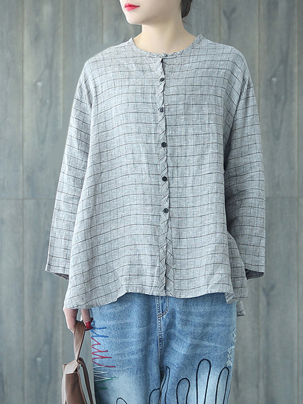 Callie Vintage Round Collar Matching Plaid Buttoned Tops
