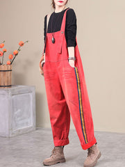 So It Goes Side Stripe Cotton Overalls Dungarees
