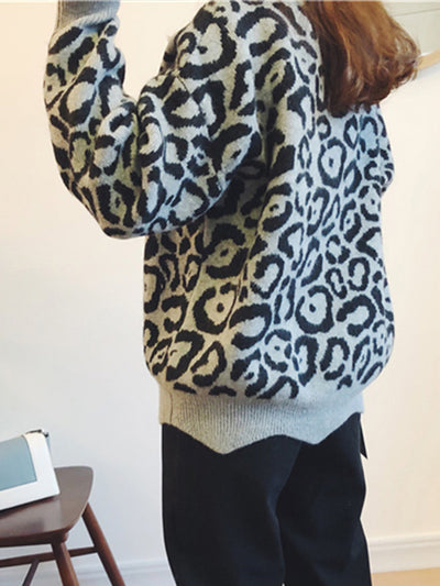 Printed Cozy V-neck Pullover Sweater Top