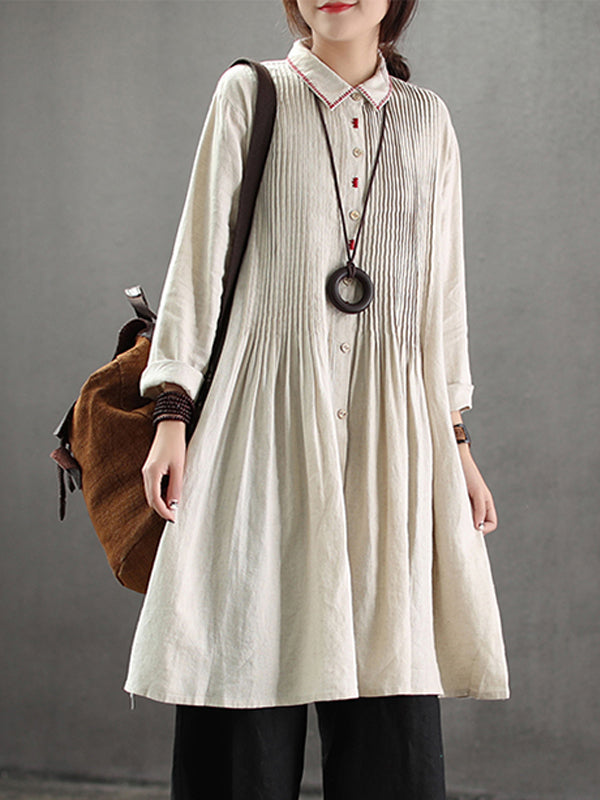 Elba Ethnic Linen Cotton Smock Shirt with Embroidery