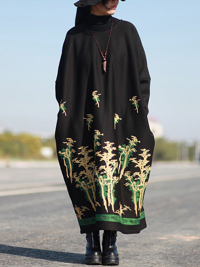 Madrid Floral Woolen Kaftan Dress