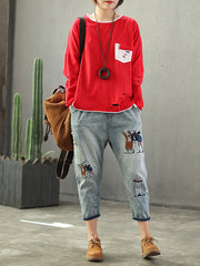 Justine Contrasting Vintage Applique Cracked Top with Cartoon Embroidery