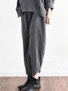 Plain Linen Loose Casual Elastic Waist Pants