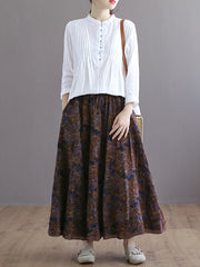 Double Layers Floral Printing Skirt