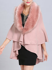 Malona Tail Neck Peplum Poncho Plus Size Cape Cardigan