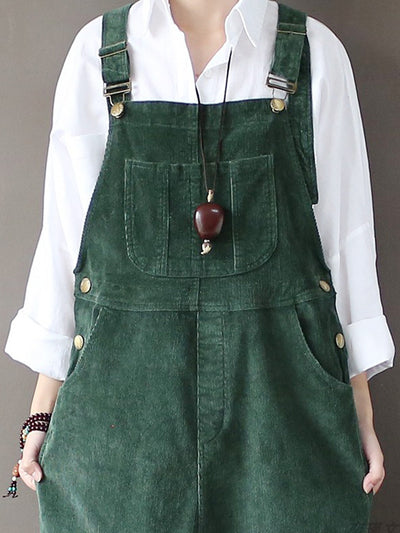 Strap Adjustable Corduroy Thick Overalls Dungarees