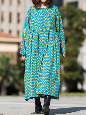 Marion Round Neck Sanding Linen Cotton Maxi Dress with Printed Shivering