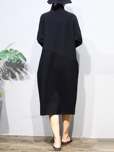 Never Forget Dark Shades High-Neck Midi Dress