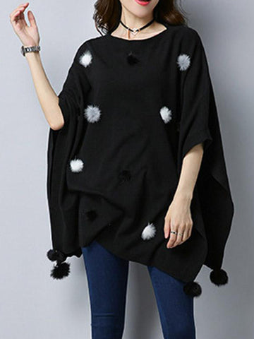 Pom Pom Style Pullover Cape Sweater