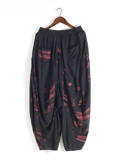Abstract Printing Elastic Harem Pants