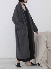 Diamond Long Cardigan Sweater with Pocket