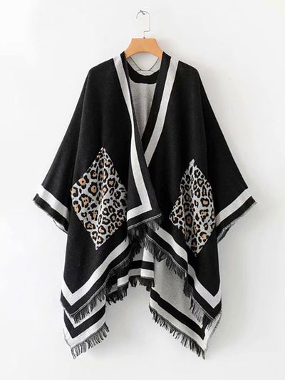 Leopard Pocket Patched Shawl Cardigan