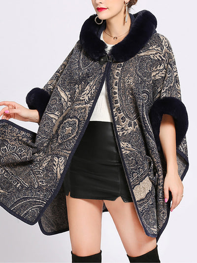 Amiable Outfitting Fluffy Plus Size Cape Cardigan