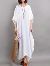 Flower Lace Applique Textured Linen Dress