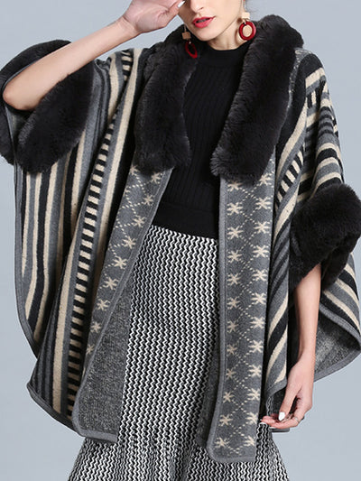 Stripe Bordeus Fluffy Neck Plus Size Cape Cardigan