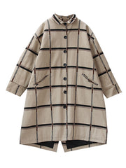 No Guidance Plaid Print Cotton & Linen Coat