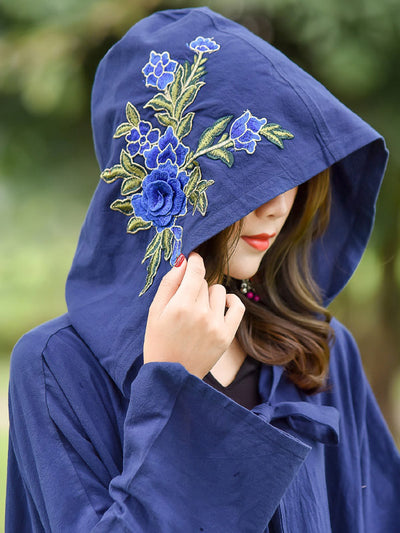 Rose Embroidered with Hat Cape Coat