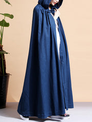 Solid Color Hooded Linen Cape Coat