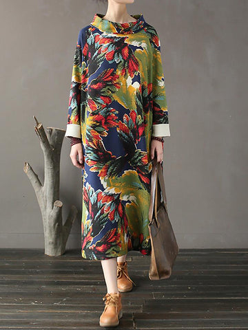 Exotic Tropical Print A-Line Dress