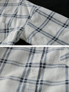 Hilary Lapel Polo Collar Vintage Matching Plaid Print Single-breasted Baggy Cotton Shirt
