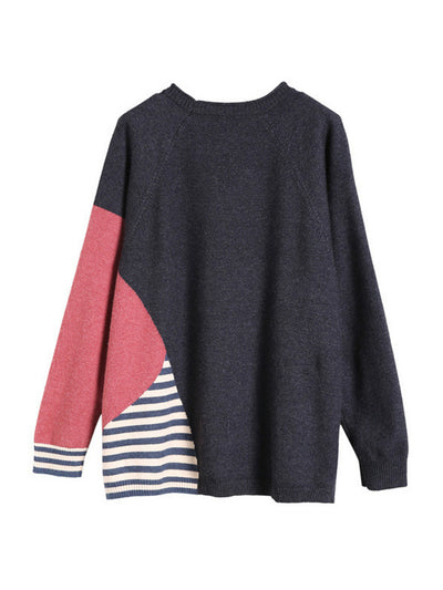 Color Block Striped Knitted Sweater