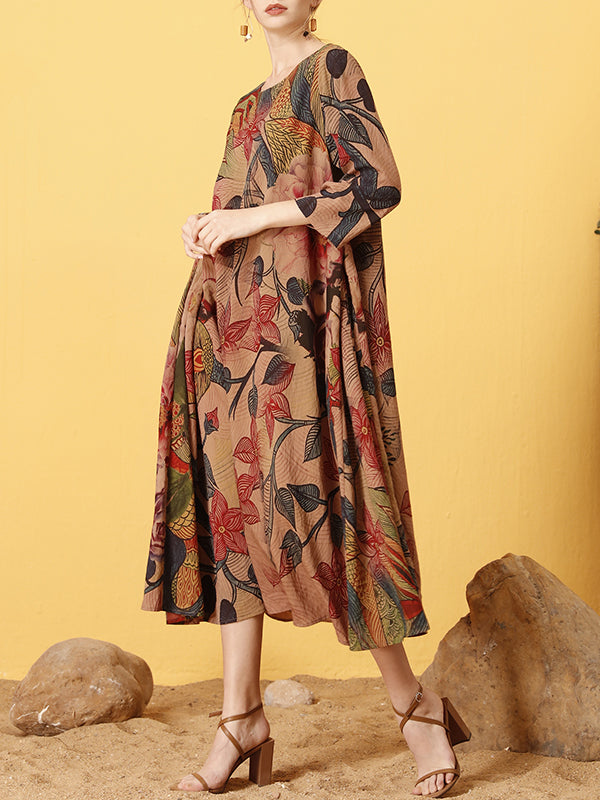 Estella Vintage Floral Printed Maxi Dress